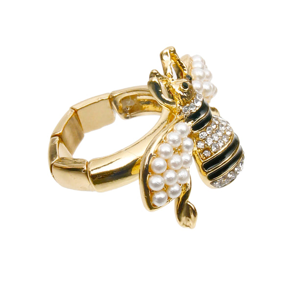 Designer Style Pearl and Rhinestone Bee Stretch Ring