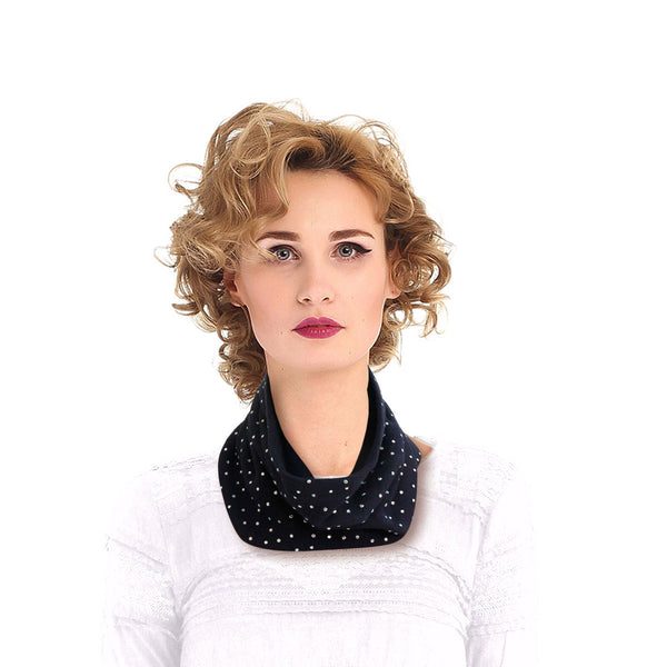 Navy Bling Neck Warmer Mask and Hat
