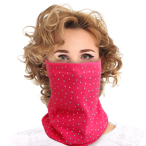 Fuchsia Bling Neck Warmer Mask and Hat