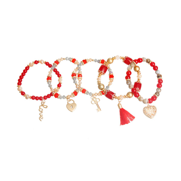 Red and Gold Love Charms Bracelets