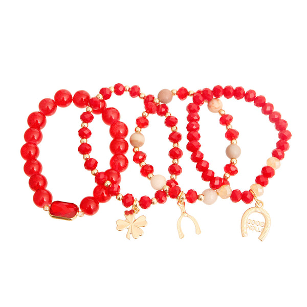 Red Bead Luck Charm Bracelets