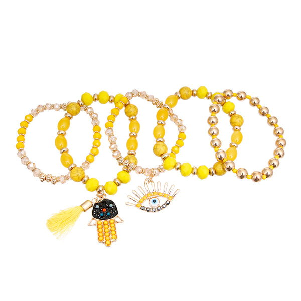 Yellow Evil Eye 5 Pcs Bracelets