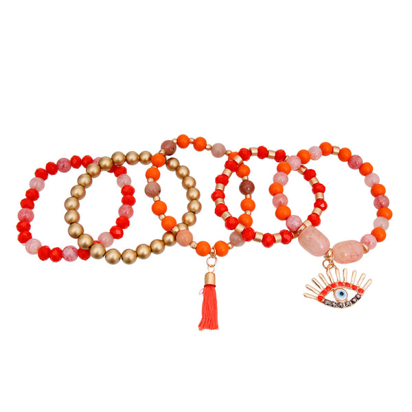 Coral and Matte Gold Evil Eye Bracelets