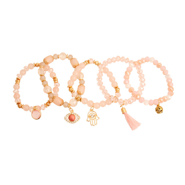 Light Pink Glass Bead Evil Eye Bracelets