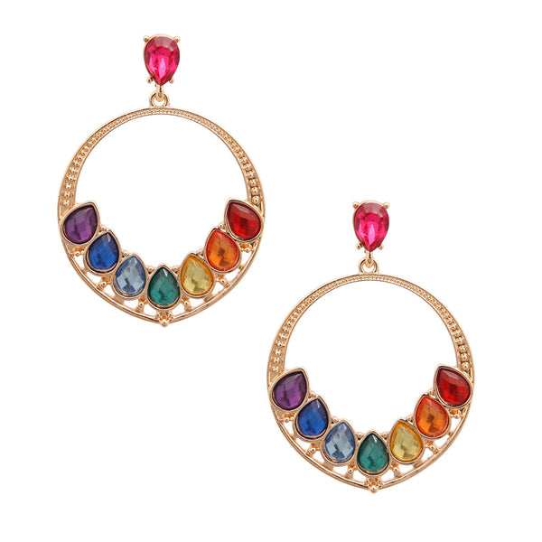 Rainbow Teardrop Round Earrings