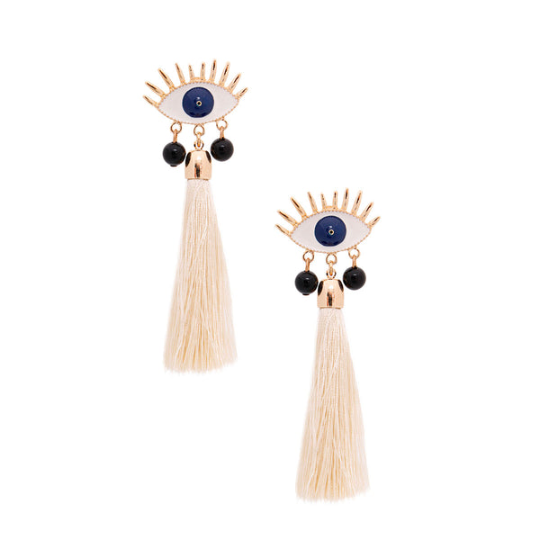 Cream Tassel Evil Eye Earrings