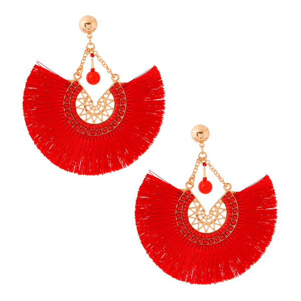 Red Silk Tassel Earrings
