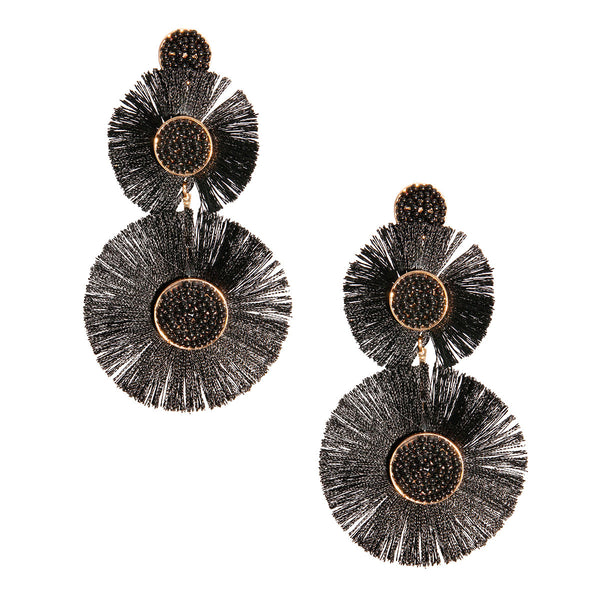 Gold and Black Fan Tassel Earrings