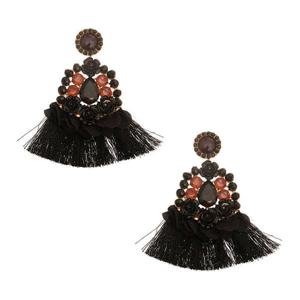 Black Crystal Encrusted Black Tassel Earrings