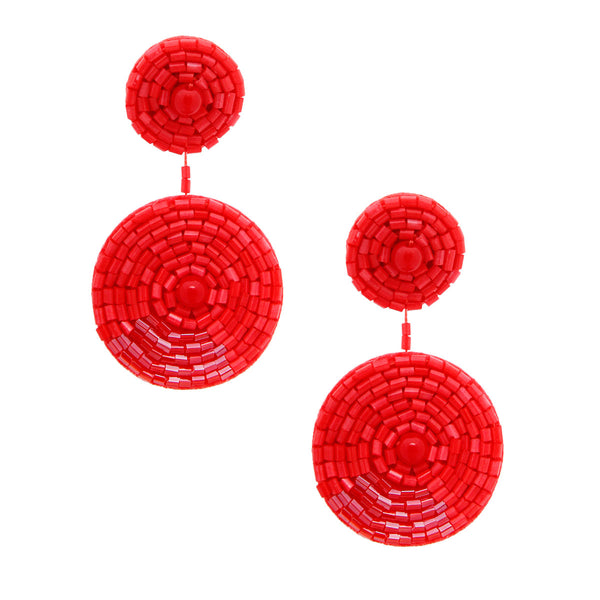 Coral Embroidered Bead Earrings