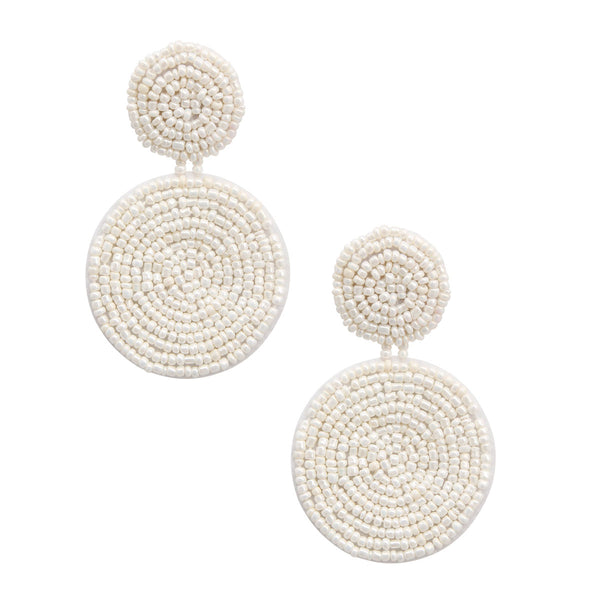 White Bead Double Circle Earrings