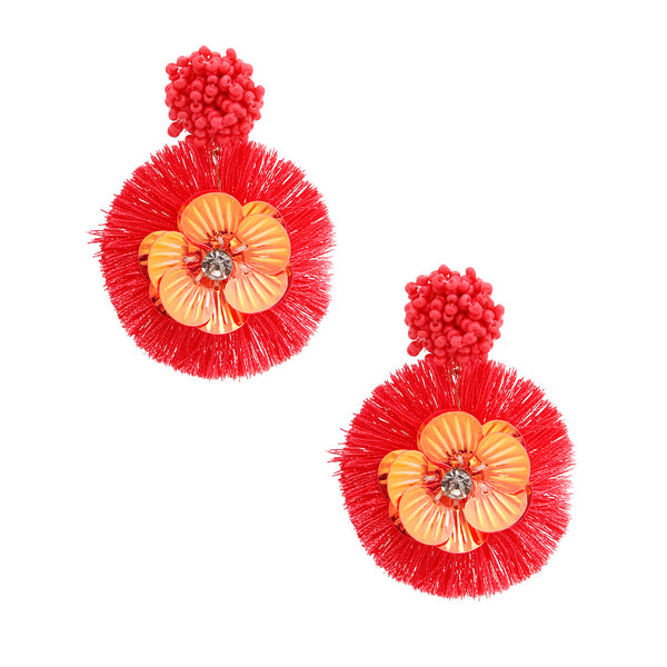 Coral Sequin Flower Tassel Earrings