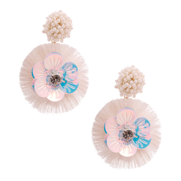 Cream Sequin Flower Tassel Earrings