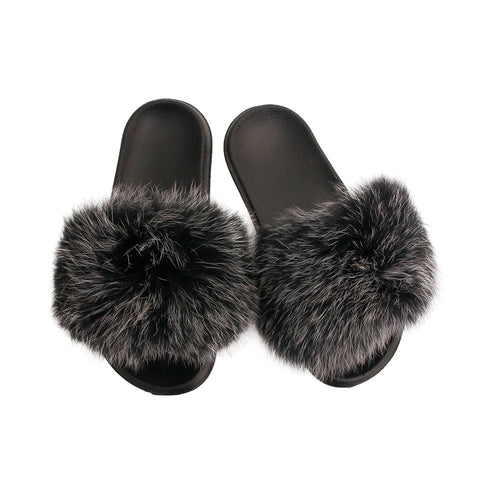 Gray Real Fox Fur Small Slippers