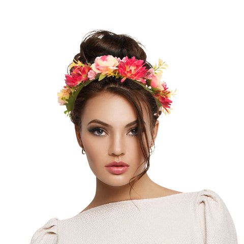 Pink Flower Crown Headband