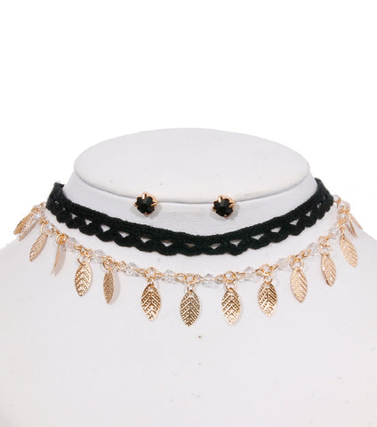 Double layered choker with lace and metal charms