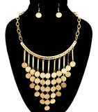 Round metal Drop Necklace Set