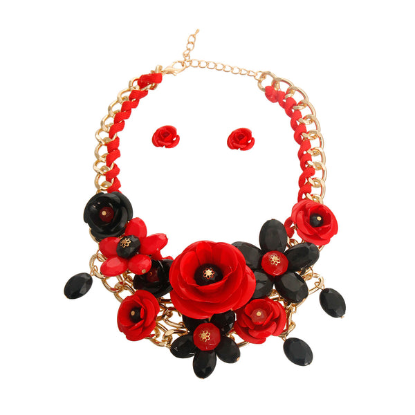 Red and Black Metal Rose Necklace