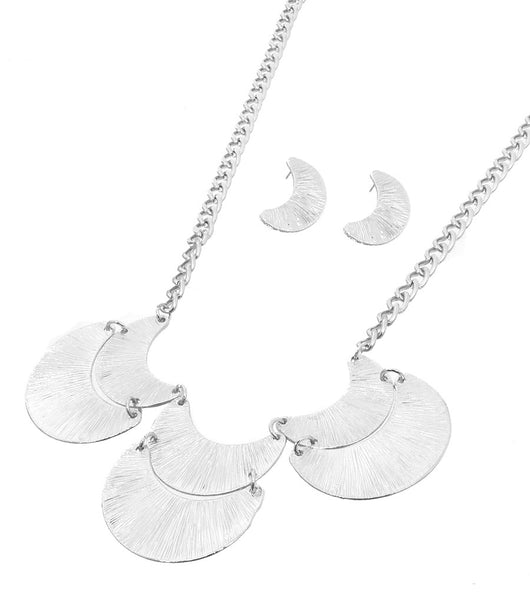 Silver Textured Crescent Necklace Set