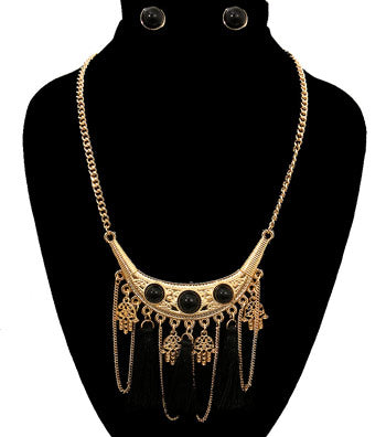 Tribal Black Tassel Necklace Set