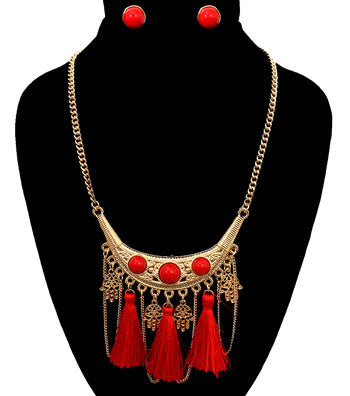 Tribal Red Tassel Necklace Set