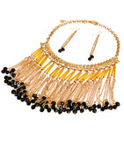 Gold Chain with Rhinestones, Black Beads and Chain Fringe Necklace Set