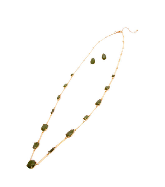 Long Gold Necklace with Green Tear Drop Inset