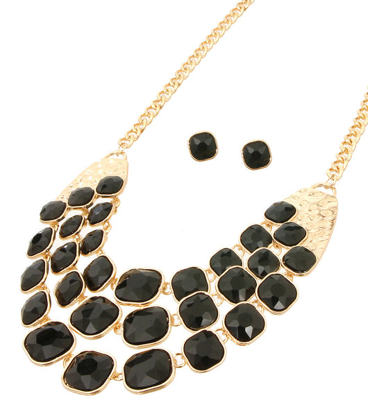 Stones Layered Necklace Set