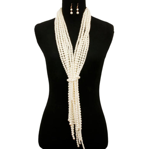 Cream Pearl Scarf Necklace Set