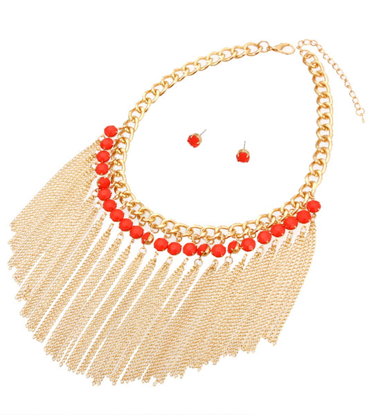Beads with Tassel Necklace Set