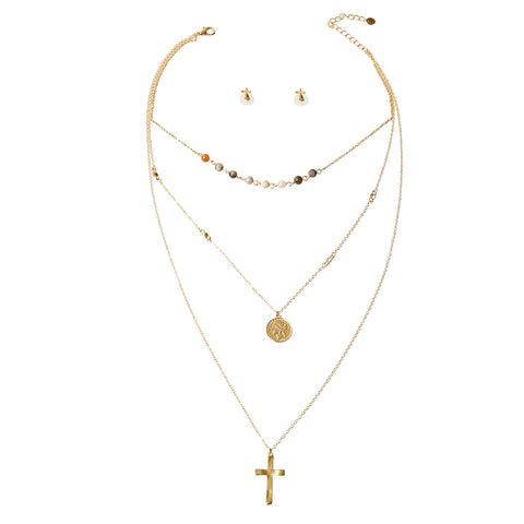 Cross and Coin Necklace Set