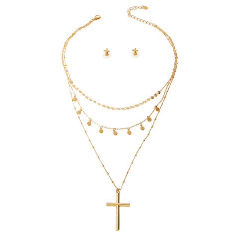 Cross and Charm Necklace Set