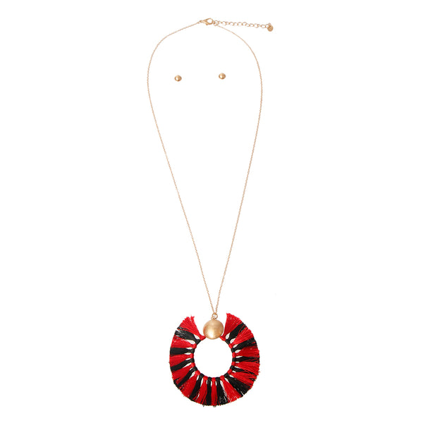 Red and Black Silk Tassel Necklace Set