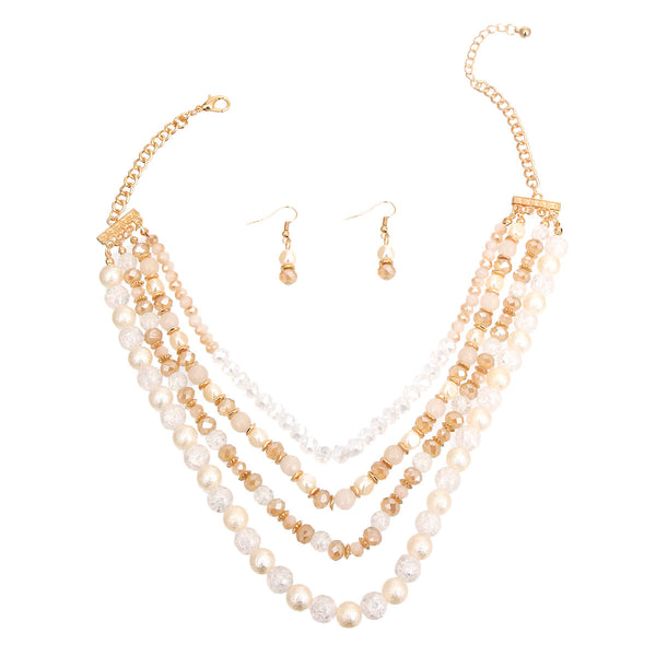 Cream Pearl Glass Bead Necklace