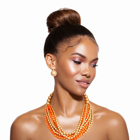 Coral and Gold Multistrand Necklace Set