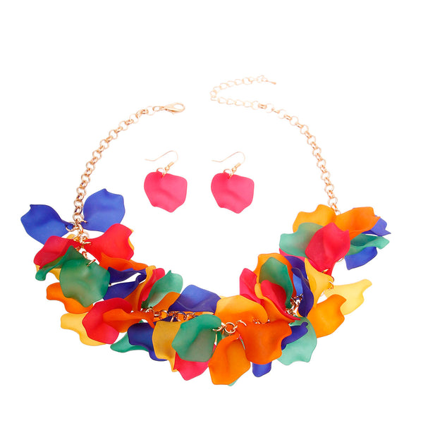 Rainbow Flower Petal Necklace