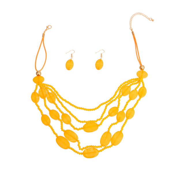 Yellow Multilayered Bead Necklace Set