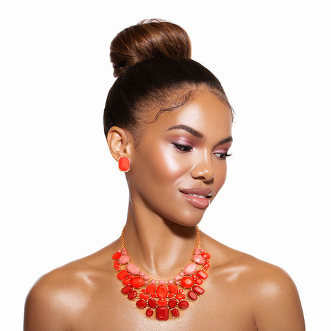 Shades of Red Statement Necklace Set