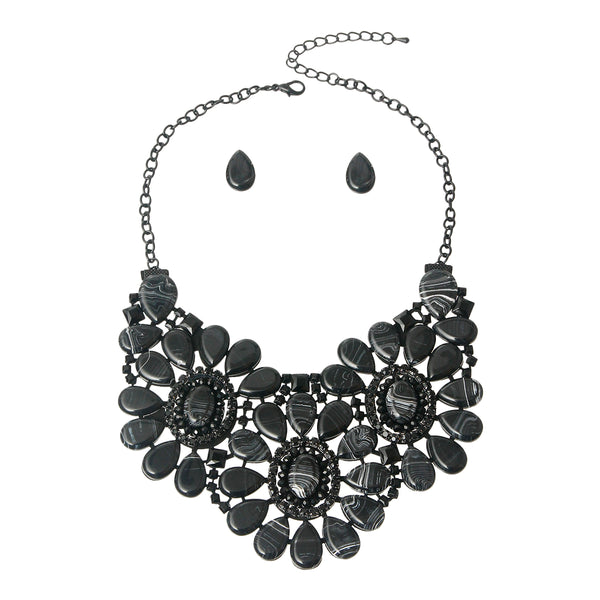 Black Marbled Bib Necklace Set
