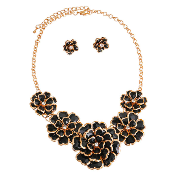 Black Gold Trim Flower Necklace