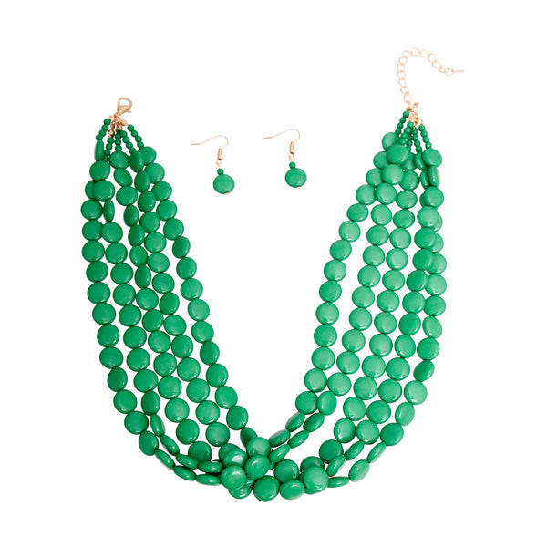 Green Flat Bead Necklace Set