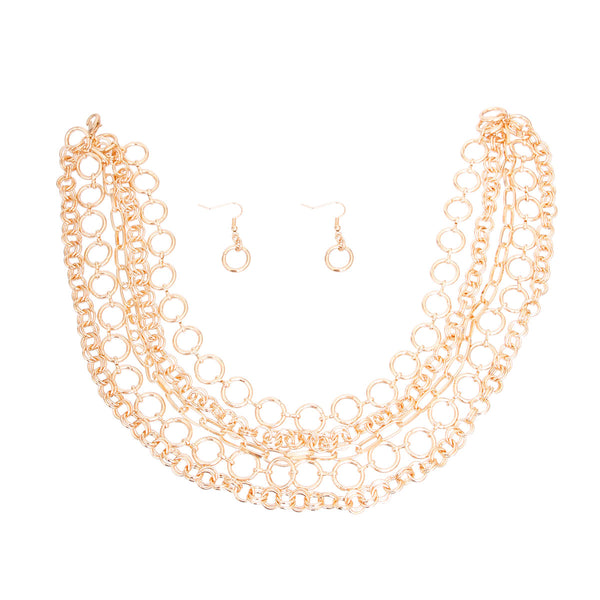 Gold Metal Round Link Layered Set