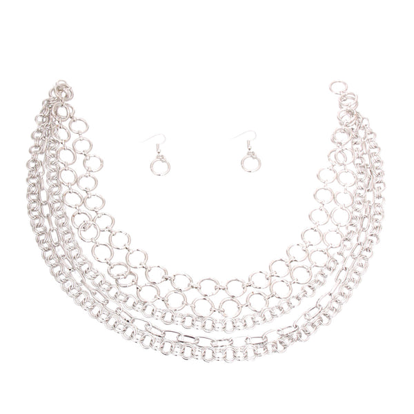 Silver Metal Round Link Layered Set