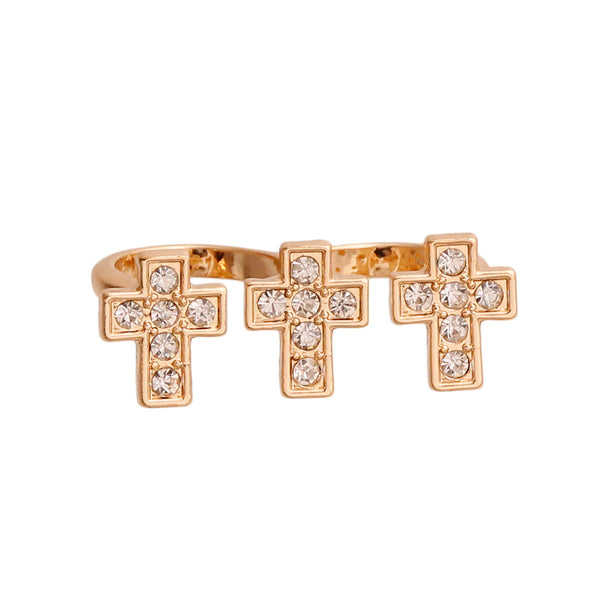 Gold and Rhinestone Cross Double Ring