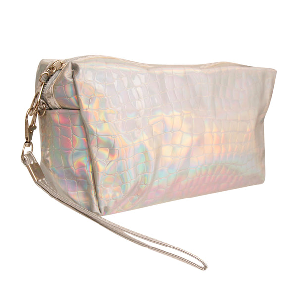 Silver Crocodile Hologram Cosmetic Bag