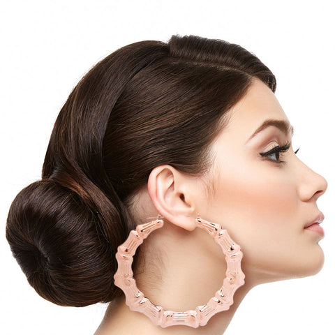 Rose Gold Metal Bamboo Hoops