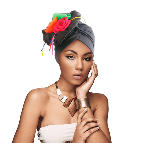 Black Pleated Flower Turban