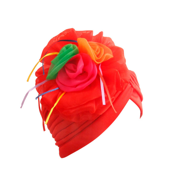 Red Pleated Flower Turban