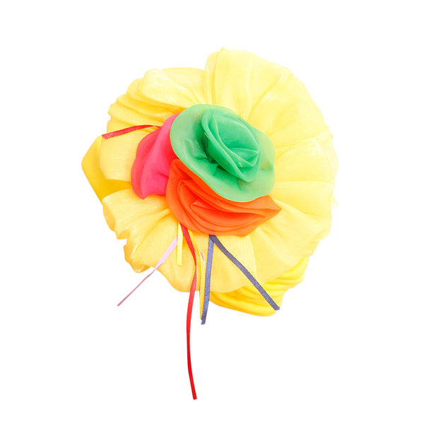 Yellow Pleated Flower Turban