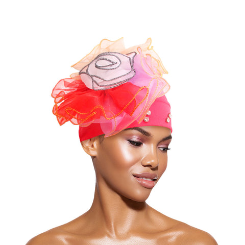 Yellow Pleated Ruffle Rhinestone Turban